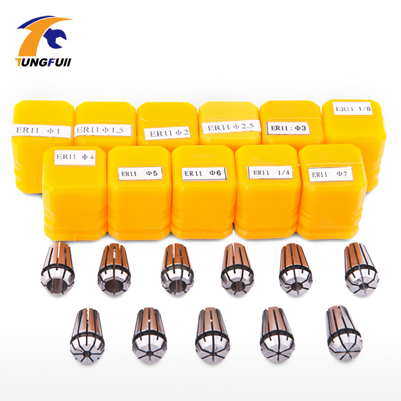 High Quantity er11 collet set 13pcs er11 collet chuck from 1mm to 7mm for CNC milling lathe tool and spindle motor Fast shipping 13pcs lot er11 1mm 7mm beating 0 015mm precision spring collet for cnc milling lathe tool and spindle motor