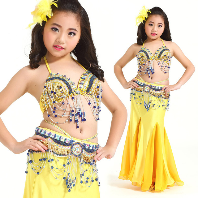 4f38d7c5308e52 Kids Belly Dance Costume Set Performing Dancewear Indian Bollywood  Bellydance Clothing For Children Top + Ceinture
