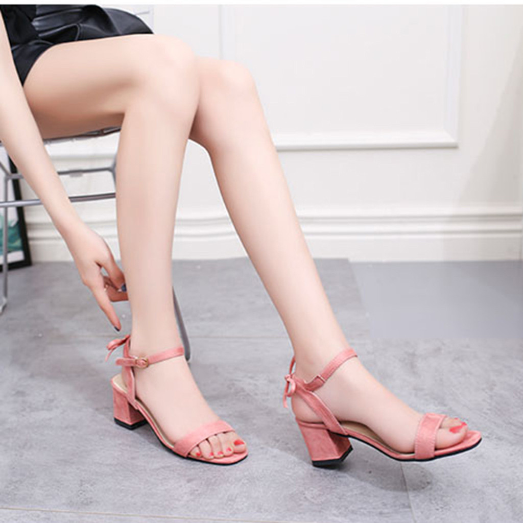 d89e0e01c SAGACE 2019 Summer Women\'s Fashion Thick heel sandals Casual Solid Buckle  Strap Square Heel Sandals Med Heel Shoes