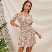 new summer elegant dress women off the shoulder lady mini dresses vestidos de verano pink full of floral print dresses HCY060 black random floral print off the shoulder mini dress