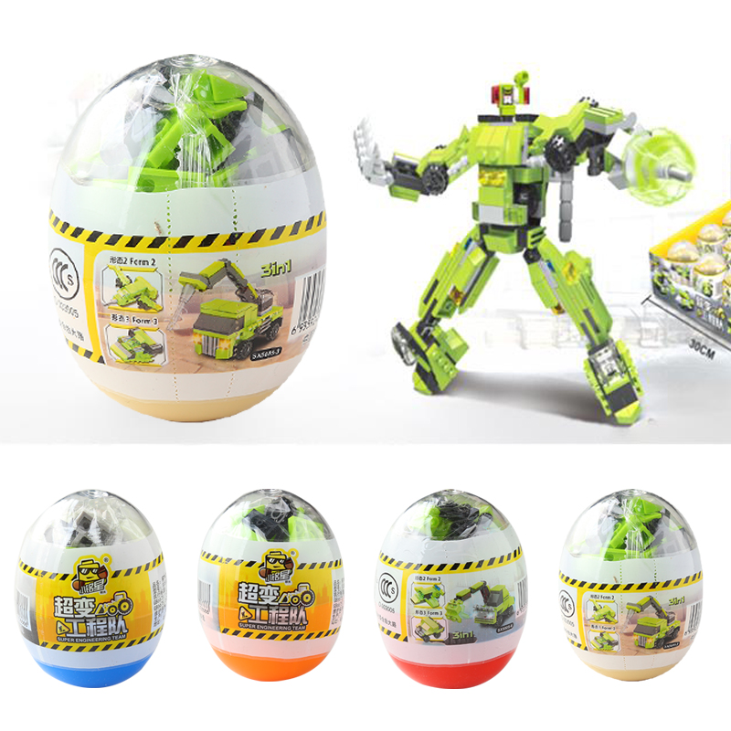 Model Building Dynamic Children Educational Learning Classic Egg Transformation Robot Cars Toys Action Toys & Hobbies