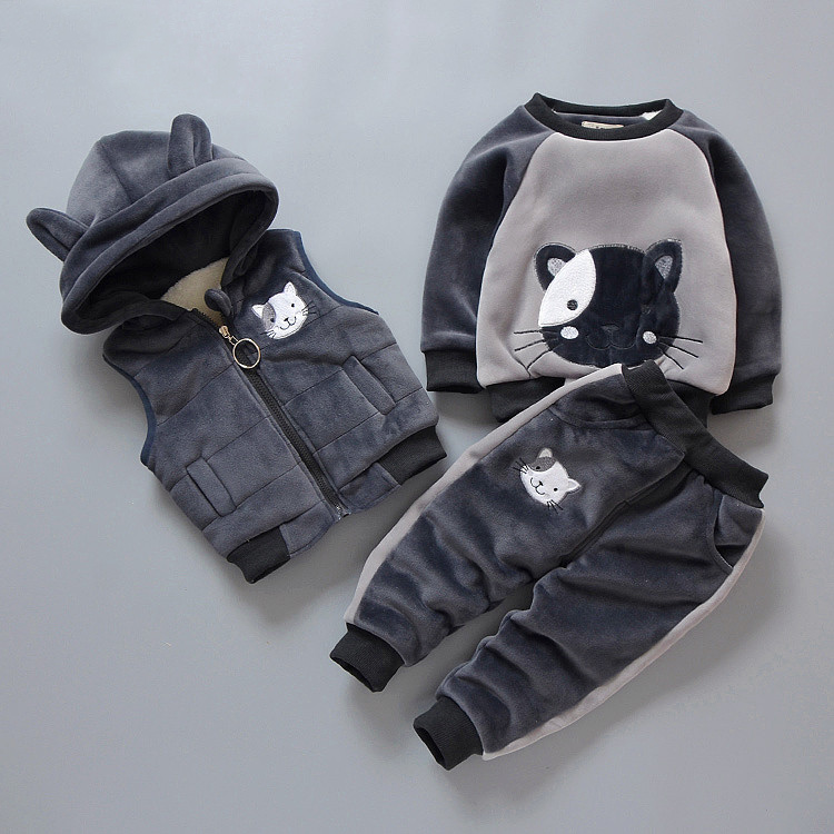 0-4 Years Autumn Winter Children Clothing Lovely Animal Velvet Kids Boys Girls Clothes Sets 3pcs Baby Set Child Outwear Coat