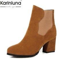 f2e8d544 Karinluna 2019 dropship de gran tamaño 32-43 elegante zapatos de mujer  zapatos de tobillo botas de moda grueso tacón Mujer dama .