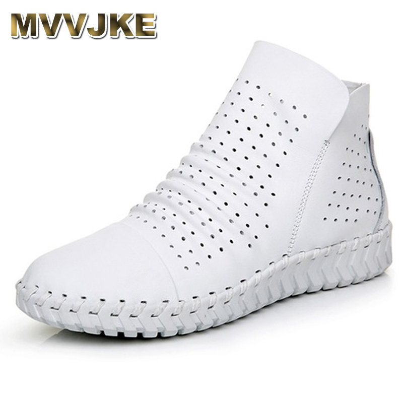 MVVJKE Genuine Leather Hollow Out Breathable Summer Women Sandals Boots 2018 Spring Autumn Fashion Soft Zipper Flat Ankle Boots mvvjke 2018 spring summer new bow genuine leather women boots hollow mesh ankle boots comfortable low heels fashion shoes