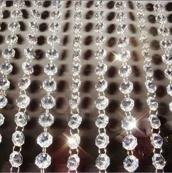 Wszystkie kolory 10 metrów sznur girlandy wiszący kryształowy szklany kurtyna koralikowa łańcuchy diamentowe wesele centralny wystrój drzewa tanie i dobre opinie Kryształowy żyrandol 14mm 100mm 14mm octagon beads Crystal strand garlands Clear 14mm octagon beads +11mm ring chandelier hanging drops