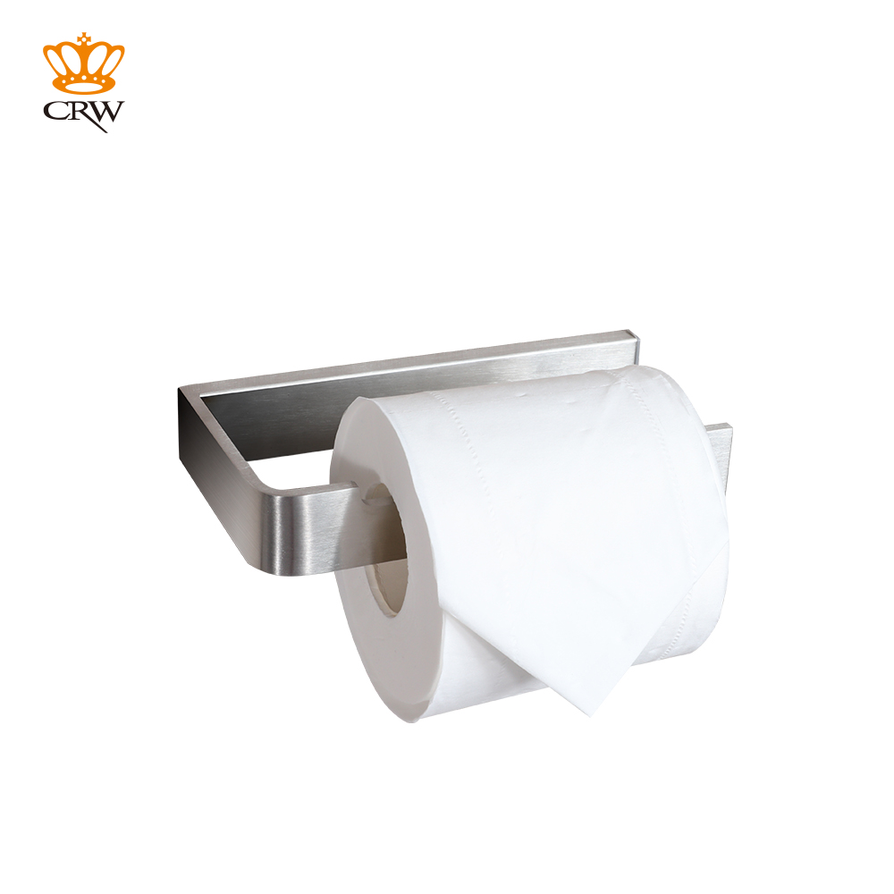 CRW Toilet Paper Holder Ring Stainless Steel Brushed Wall Mounted Roll Paper Holder Bathroom Storage Shelf 1pcs wall mounted stainless steel bathroom towel shelf holder adhesive force bathroom shelf pendant toilet roll paper hanging