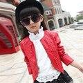 2016 New Girls Jacket Children's Clothing Spring/Autumn Solid Child Girls Coats Kids Outerwear Zipper Babygirl PU Coat 4-13T
