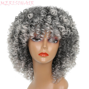 Image 1 - MERISI HAIR Short Curly Brown Blonde Gray Color Wigs For Black Women High Temperature Synthetic Hair