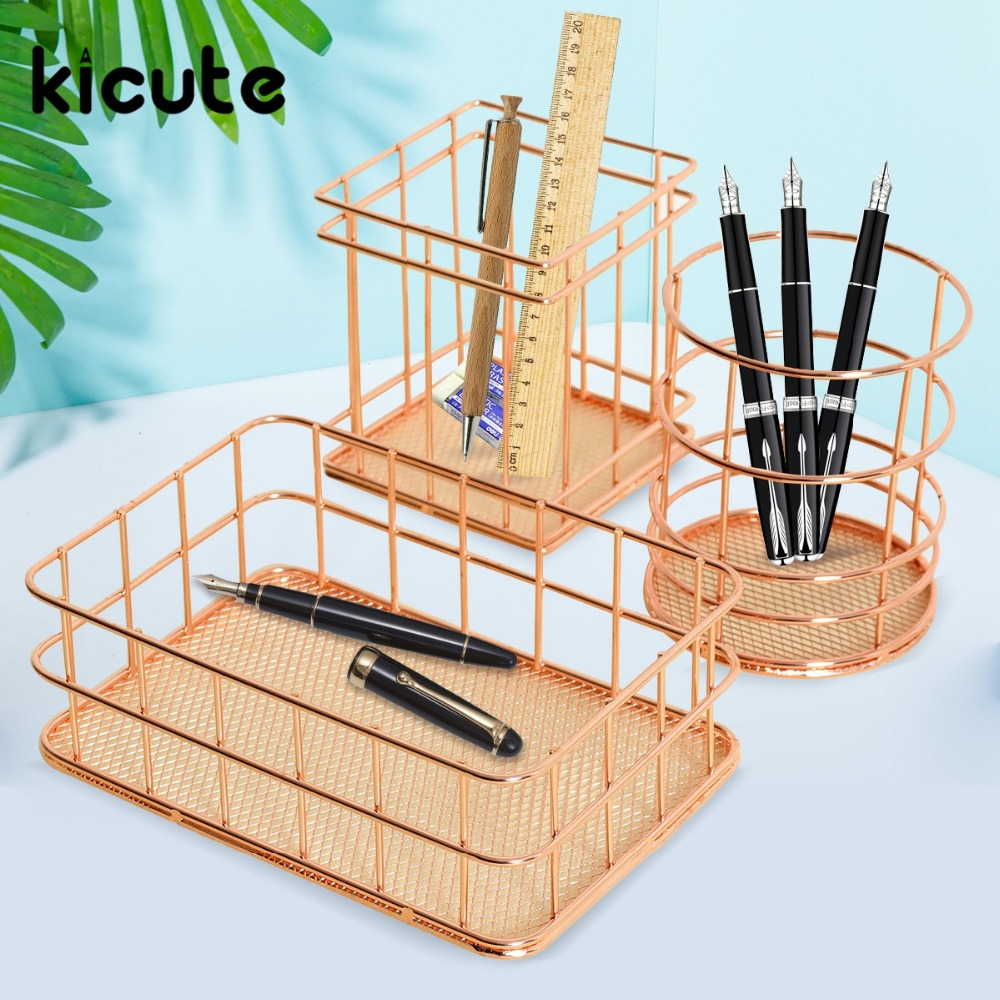Kicute 1pcs Rose Gold Metal Pen Holder Box Case Organizer Home Desk Stationery Decor Office School Desk Accessories Supplies