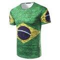 Camisa masculina 3d Bandeira do Brasil de Manga Curta Dos Homens de Impressão 3D T-shirt brasil camisa Masculina Casual Slim fit Top Tees t camisa homens