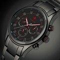 WWOOR Luxury Brand Day Date 24 Hours Clock Quartz Watch Men Sports Watches Male Black Steel Strap Military Wristwatch Waterproof