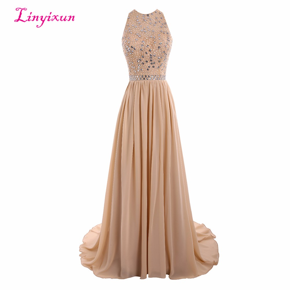 Linyixun Real Photo Sexy   Prom     Dresses   2017 With Beaded Crystal Long Scoop Backless Formal Evening Gowns Custom vestido de festa