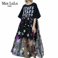 Max LuLu Luxury European Fashion Ladies Sexy Mesh Streetwear Womens Printed Lace Long Dresses Embroidery Vintage Summer Vestidos