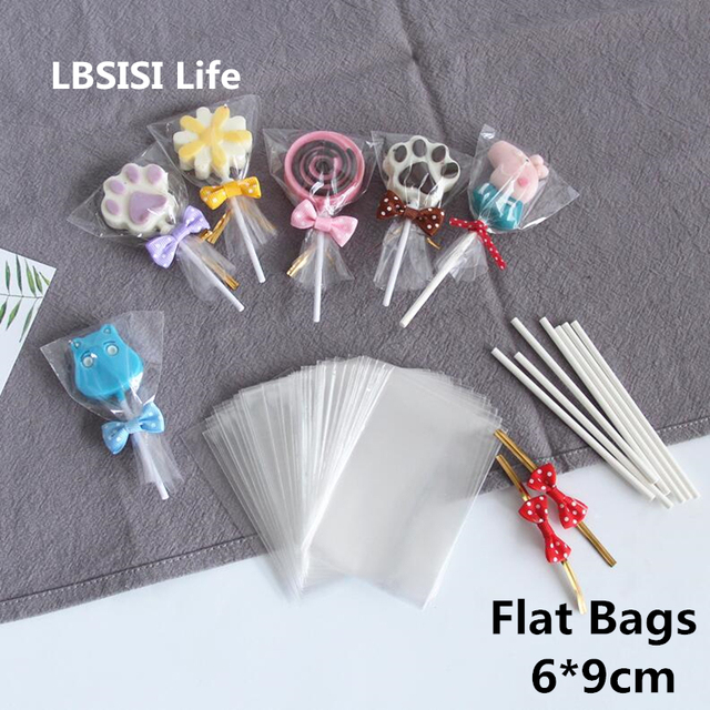 ab3a3a7875 LBSISI Life 200pcs 6 9cm Lollipop Bags Small Clear Plastic Food Candy Pop  OPP Bags