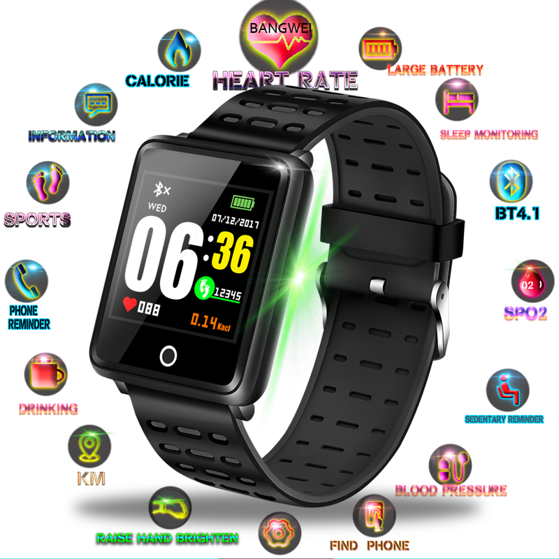 BANGWI 2019 New Smart Sport Watch Men Fitness Tracker Pedometer Blood Pressure Heart Rate Monitor Waterproof Smart Watch RelogioBANGWI 2019 New Smart Sport Watch Men Fitness Tracker Pedometer Blood Pressure Heart Rate Monitor Waterproof Smart Watch Relogio