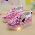 Hot sole kids shoes girls shoes kids light up sneakers girls fashion bling loafers children shoes girls shoes
