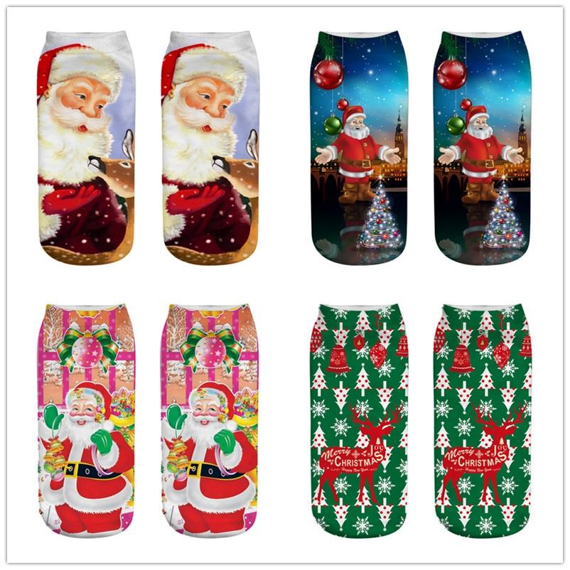 1Pairs Big Children 3D Christmas Socks Unisex Cartoon Elk Snowman Santa Socks Low Cut Ankle Printed Christmas Socks
