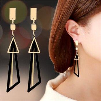 Koreański komunikat kwadrat geometryczny trójkąt opadające kolczyki z długimi frędzlami dla kobiet moda biżuteria Oorbellen Brincos Aretes De Mujer