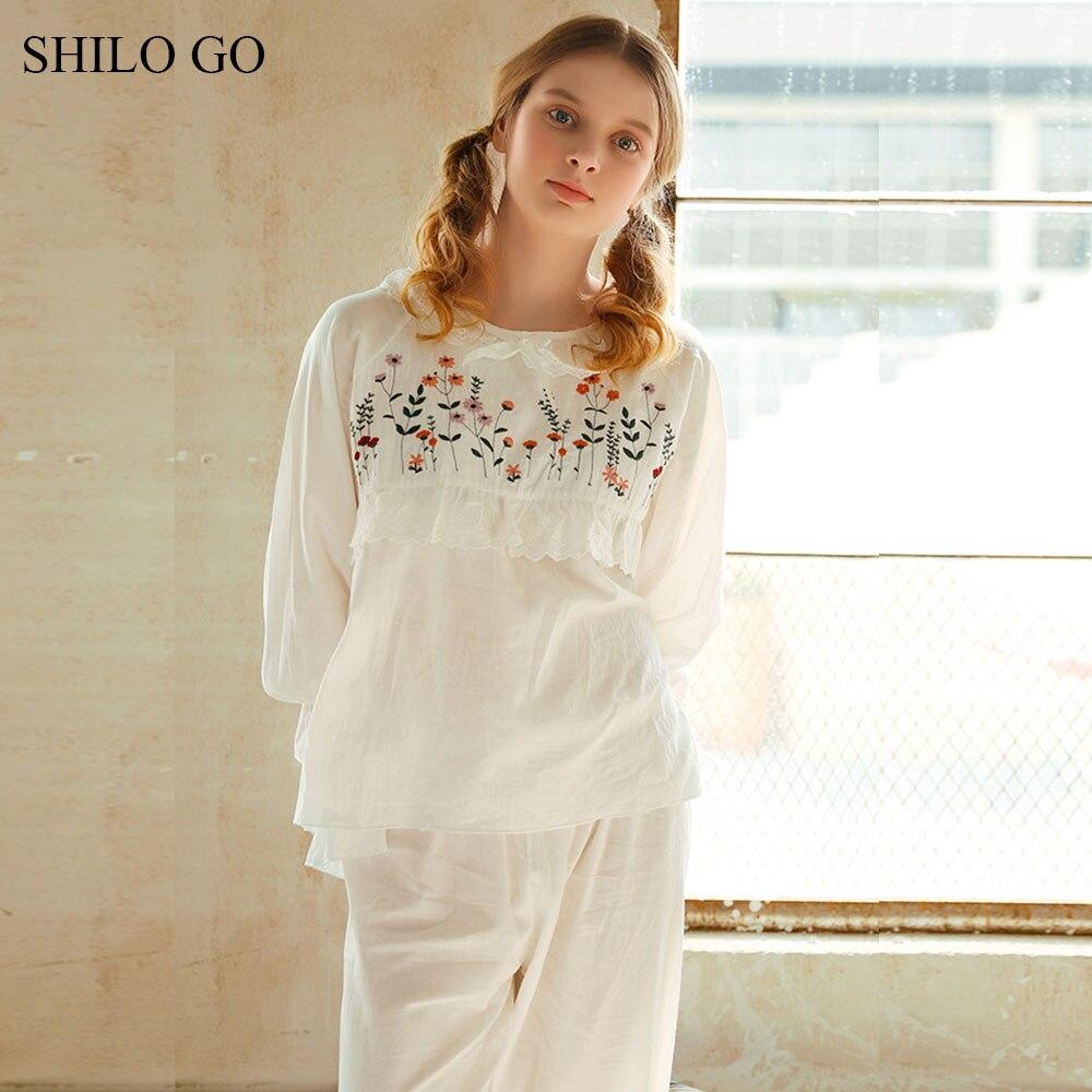 SHILO GO Pajamas Set Summer Women Home Comfortable O Neck flower Embroidery ruffles half sleeve A Line blouse long pants suit