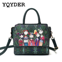 YQYDER 2017 Femmes Sac Patchwork Fille Forêt Vert Rabat Sac Designer Messager De Mode En Cuir Sacs Dames Sac D'épaule Simple