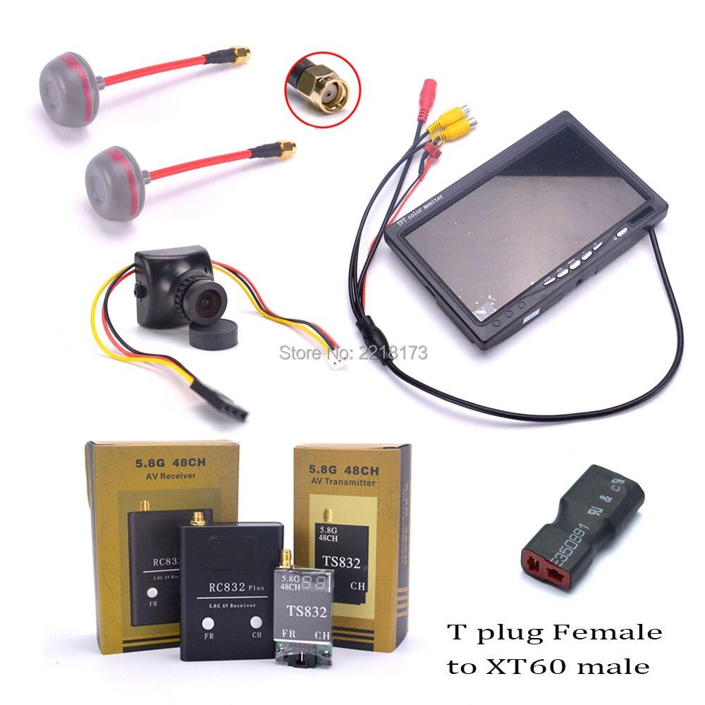 700TVL Camera 7 inch LCD 1024 x 600 Monitor NO Blue FPV 5.8G TS832 Transmitter RC832 plus Receiver 600mW 48CH Fatshark Antenna