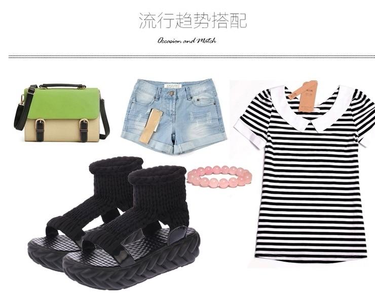 Вязаные сандалии, женские сандалии-гладиаторы на платформе, модная женская обувь, однотонные, повседневные, летние, на плоской подошве,, с открытым носком, вязаные вьетнамки