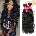 Hot Selling Brazilian Virgin Hair Deep Wave 4Pcs/Lot Brazilian Virgin Hair  Brazilian Human Hair Weaves Wavy Kinky Curly Hair