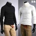 Ropa básica de la camisa de cuello alto delgado masculino lijada cuello alto de la largo-manga de la Camiseta 100% algodón ropa interior térmica