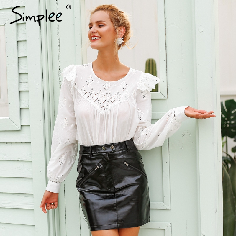 Simplee Sexy white embroidery   blouse     shirt   women Vintage ruffle overlay cotton   blouse   female lantern sleeve autumn blusas 2018
