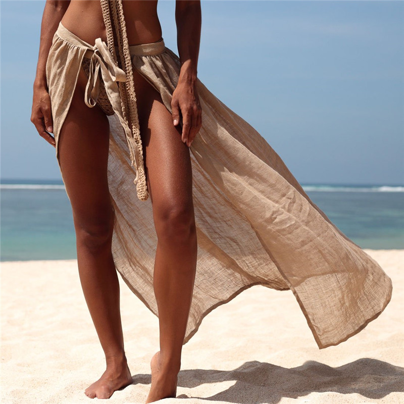2019 New Long White Khaki Beach Cover Up Sexy Swimsuit Cover Ups Beach Dress See Through Bikinis Hot Tunic Women Sarong