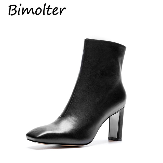 Bimolter Women Boots Winter Ankle Boots High Heels Zip White Boots Ladies Autumn Shoes Pointed Toe Handmade Shoes Black NA034
