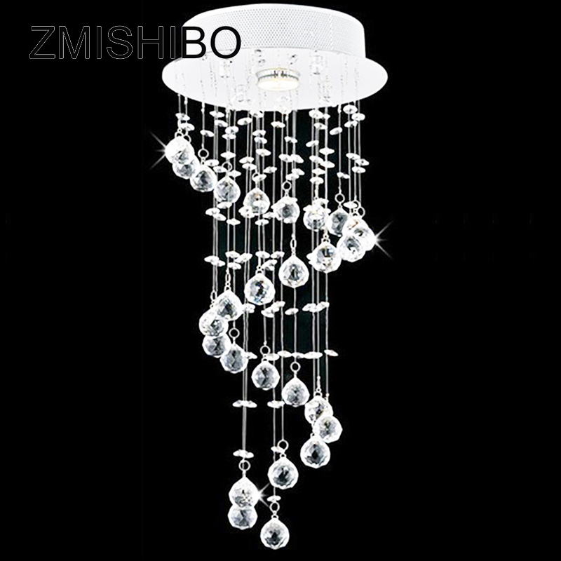 ZMISHIBO European Spiral LED Crystal Ceiling Pendant Lamp GU10 1/3/5 Bulbs 110-220V Surface Mounted Porch Chandelier Lighting