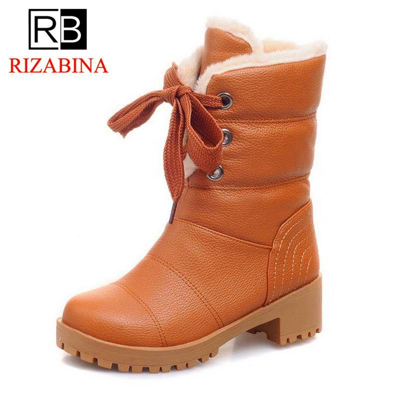 RizaBina Women Half Short Boots Square Heels Winter Thicken Fur Warm Mid Calf Boot Bota Lace-up Gladiator Botas Shoes Size34-43 rizabina women height increasing glitter half short boot warm plush winter mid calf snow boots footwear shoes p21952 size 34 43
