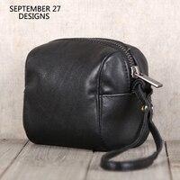 Coin Purses First Layer Leather Organizer Wallets Lovers Zipper Wallets High capacity Men Women Key Purse Cowhide Mini Handbag