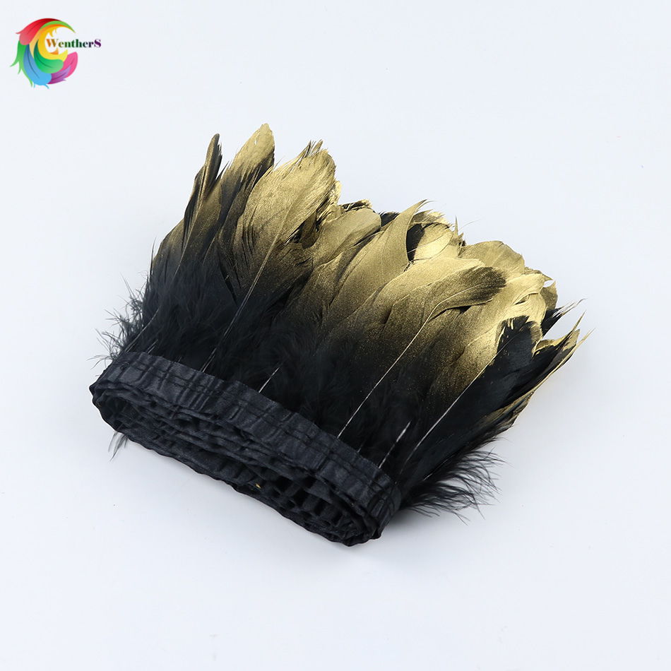 Wholesale Dipped gold Black Goose feather trims Height 15-20cm feather ribbon for Dress Skirt Clothing Sewing Accessories plume