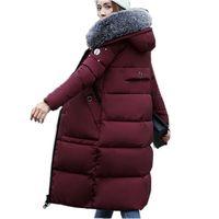 Зимнее пальто 2018 г. женские модные пальто с хлопковой подкладкой с меховым воротником с капюшоном Женская зимняя обувь куртка Женская длинн...