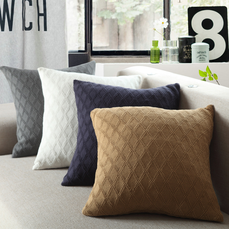 100% Cotton Rhombus Pattern Knitted Cushion Cover Throw Pillow Cover For Sofa Car Chair Cushion Case 45x45cm Without Stuffing