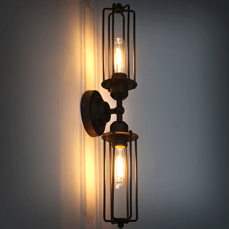 Vintage Loft Double Tube Wall Lamp Indoor Bedroom Kitchen