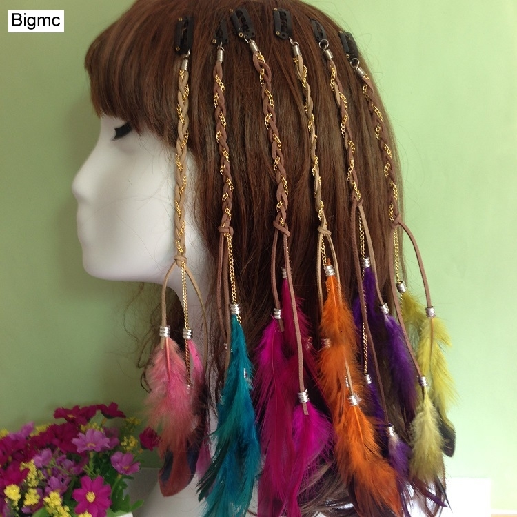New Women Color BB Hairpin Wooden Beads Feathers Headband Feathers Bohemian Indian Bride Headband Hair Band Party Jewelry A5025