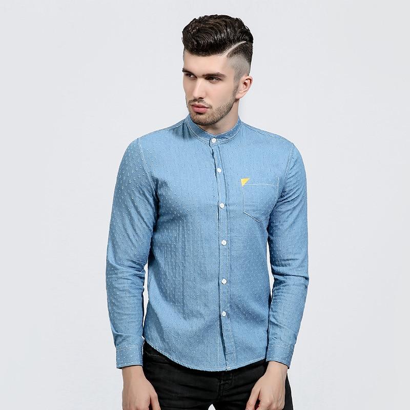 Brand 2017 denim Dress Shirts Mens Polka Dot Shirt Slim Fit Male Shirts Long Sleeve Men jean Shirt Heren Hemden NZ06