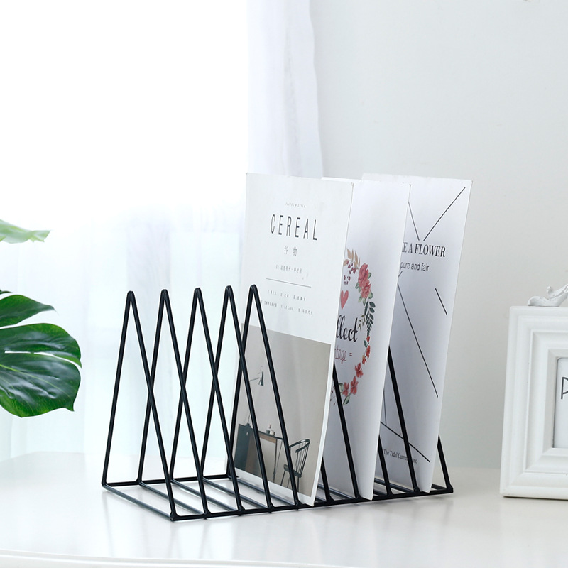 Desktop Storage File Rack Organizer Letter Sorter Metal Wired Bookend Card Holder Document Organizer For Home Office