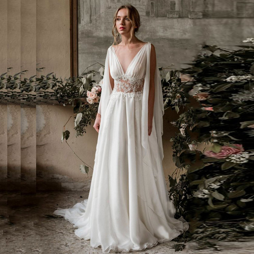 2019 Beach  Fast Shipping Wedding Dress  A-Line Chiffon Cap Sleeve  Appliques Lace Princess Bride Dress Arabic Wedding Gown