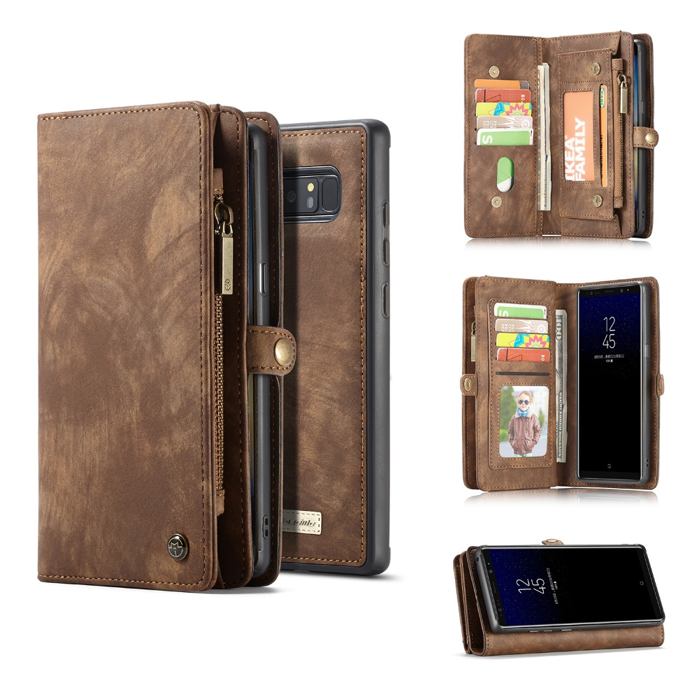 Zipper Wallet Folio Magnetic Genuine Leather Cover For Samsung Galaxy