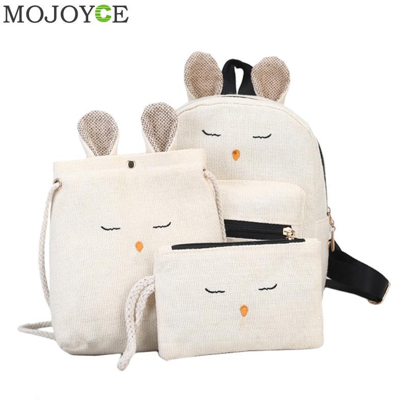 3pcs/set Linen Rabbit Backpack with Ear Women Kawaii Bookbag Soft Backpacks for Teenage Girls Schoolbag Female Mochila Women Bag