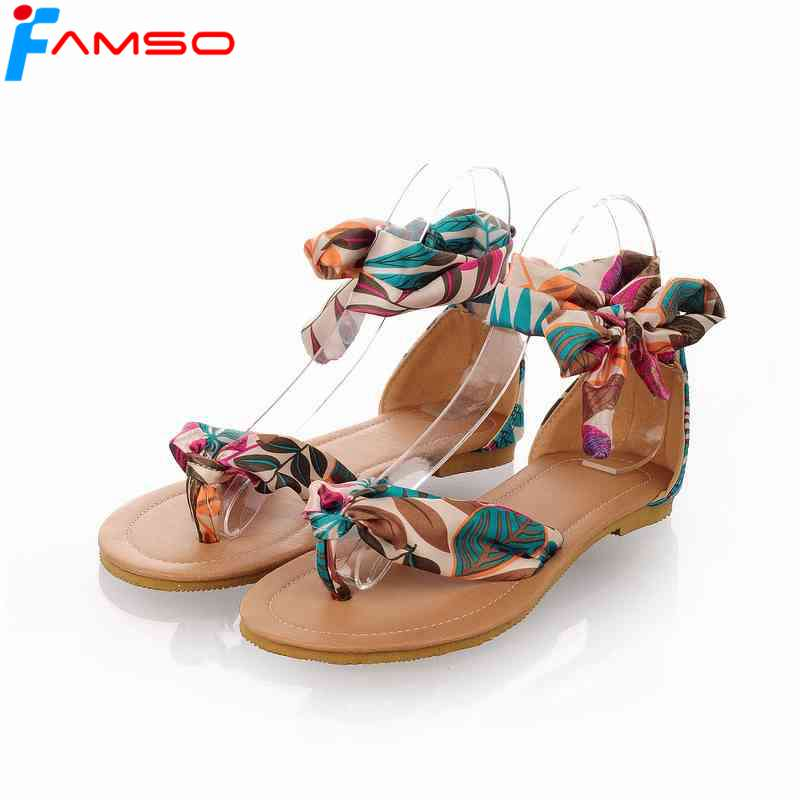 FAMSO Size34-43 2017 New Fashion Women Sandals platforms Shoes Ethnic Female Summer Casual Shoes Women's Flats Sandals FS381 anmairon shallow leisure striped sandals women flats shoes new big size34 43 pu free shipping fashion hot sale platform sandals