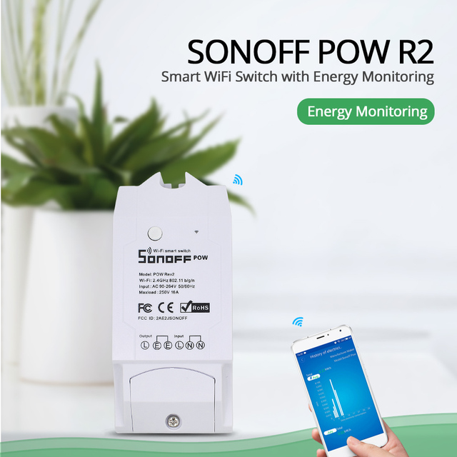 Sonoff Pow R2 15A Smart Wifi Switch Power Monitor Measurement Home Energy Wireless Overload Protection Remote Voice Control Home