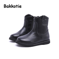 Bakkotie New Winter Children Brand Real Leather Black Boot Kid Fashion Ankle Brown Booties Baby Girl