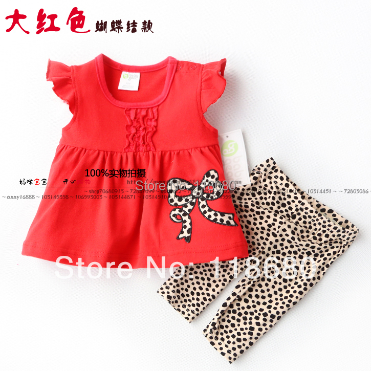 New arrival 2014 baby & kids clothes sets baby girls bow print t-shirts + kids pants sets child casual sports suit girls clothes