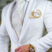 Men Suits Blazer-Jacket Tuxedos Jacquard White Best-Man Wedding/prom Pants-Set Groom