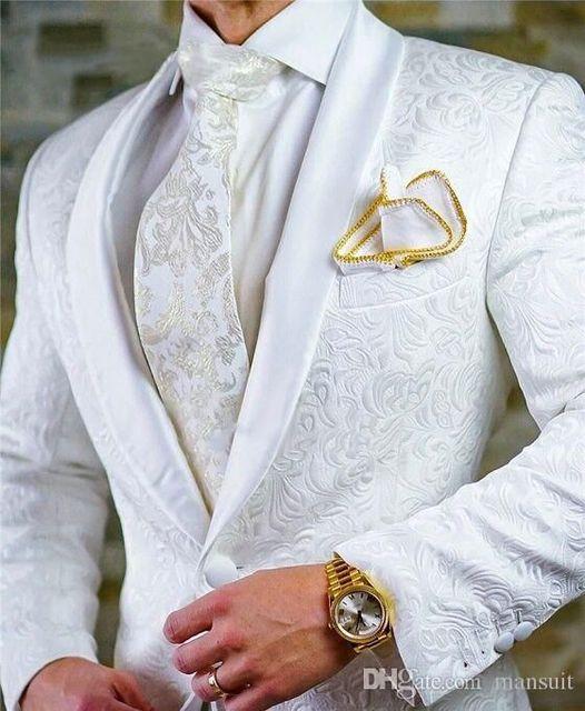 Custom size style Jacquard Groomsmen white Groom Tuxedos Shawl Lapel Men Suits Wedding/Prom Best Man Blazer ( Jacket+Pants+Tie Men's Fashion